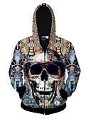abordables Sudaderas de Hombre-Hombre Deportes Activo Manga Larga La chaqueta con capucha Cráneos Escote Redondo