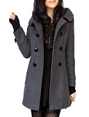 cheap Women's Coats & Trench Coats-Women's Wool / Polyester Trench Coat - Solid Colored V Neck / Fall / Winter / Batwing Sleeve