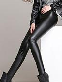 voordelige Damesleggings-Dames Dagelijks Grote maten Kunst Leder Standaard Legging - Effen Medium Taille