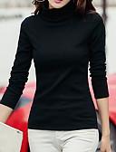 tanie T-shirt-T-shirt Damskie Moda miejska Bawełna Wyjściowe Golf Solidne kolory / Jesień / Zima