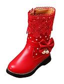 お買い得  女児 トップス-女の子 靴 レザーレット 冬 コンフォートシューズ / スノーブーツ ブーツ ウォーキング ジッパー のために ブラック / レッド / ピンク / TR