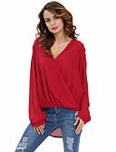 abordables Blusas para Mujer-Mujer Encaje - Blusa, Escote en Pico Corte Ancho Un Color