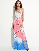 baratos Vestidos de Mulher-Mulheres Praia Reto Vestido - Estampado Com Alças Longo