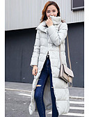 זול חליפות שני חלקים לנשים-ארוך מעיל פוך מעיל נשים,אחיד פשוטה יום יומי\קז'ואל פוליאסטר נוצות ברווז לבנות-שרוול ארוך