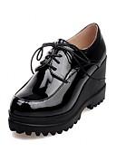 abordables Jerséis de Mujer-Mujer Zapatos Cuero Patentado Semicuero Primavera Verano Otoño Confort Innovador Tacones Paseo Tacón Cuña Dedo redondo Con Cordón Para