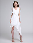 cheap Prom Dresses-A-Line V Neck Asymmetrical Chiffon Bridesmaid Dress with Pleats by LAN TING BRIDE®