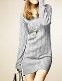 preiswerte Damen Pullover-Damen Langarm Lang Extra lang - Solide V-Ausschnitt / Winter