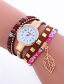 cheap Quartz Watches-Women's Bracelet Watch Wrist Watch Quartz Cool Punk Analog Ladies Charm Sparkle Leaves Vintage - Rose Red Blue