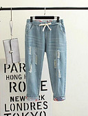 cheap Women's Pants-Women's Cotton Loose Jeans Pants - Solid Colored Ripped