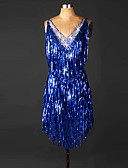 cheap Latin Dancewear-Latin Dance Dresses Women's Performance Spandex Tassel / Crystals / Rhinestones Sleeveless Natural Dress