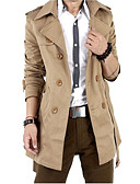 cheap Men's Jackets & Coats-Men's Weekend Fall Long Blazer, Solid Color Peter Pan Collar Long Sleeve Cotton / Polyester Black / Khaki XXL / XXXL / XXXXL / Double Breasted / Slim