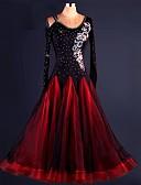 cheap Ballroom Dance Wear-Ballroom Dance Dresses Performance Spandex / Organza Draping / Lace / Crystals / Rhinestones Long Sleeve High Dress