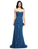 cheap Evening Dresses-Sheath / Column Sweetheart Neckline Sweep / Brush Train Chiffon Bridesmaid Dress with Criss Cross / Ruffles / Ruched by LAN TING BRIDE®