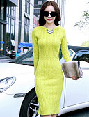 cheap Women's Lingerie-Women's Cotton Slim Sweater Dress - Solid Colored / Fall / Winter