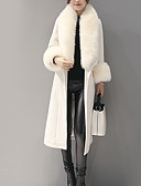 cheap Women's Coats & Trench Coats-Women's Daily Vintage Winter Maxi Coat, Solid Colored Long Sleeve Fur Trim White / Navy Blue L / XL / XXL