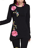 cheap Women's Shirts-Women's Plus Size Loose T-shirt - Floral / Fall / Embroidery
