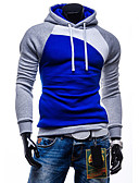 cheap Men's Hoodies & Sweatshirts-Men's Sports Active Long Sleeve Slim Hoodie - Color Block Dark Gray L / Fall / Winter