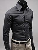 abordables Camisas de Hombre-Hombre Bonito Chic de Calle Algodón Camisa Delgado Un Color