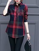 cheap Women's Blazers & Jackets-Women's Casual Shirt - Plaid Print Shirt Collar / Fall / Winter