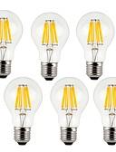 お買い得  ガールズファッション-KWB 6本 7W 760lm E26 / E27 フィラメントタイプLED電球 A60(A19) 8 LEDビーズ COB 装飾用 温白色 クールホワイト 220-240V
