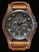 cheap Sport Watches-CURREN Men's Wrist Watch Japanese Calendar / date / day / Water Resistant / Water Proof / Cool Leather Band Luxury / Vintage / Casual Black / Brown / # / Stainless Steel / Sony S626 / Two Years