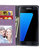 זול מגנים לטלפון-מגן עבור Samsung Galaxy S7 edge / S7 / S6 edge ארנק / מחזיק כרטיסים / נפתח-נסגר כיסוי מלא אחיד קשיח עור PU