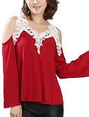 preiswerte T-Shirt-Damen Patchwork Übergrössen T-shirt, Gurt Ausgehöhlt