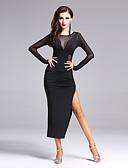 hesapli Latin Dans Giysileri-Latin Dansı Elbiseler Kadın's Performans Polyester / Splandeks Ayrık Ön Uzun Kollu Doğal Elbise