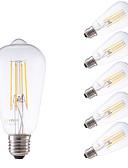 お買い得  メンズフーディー&スウェットシャツ-GMY® 6本 600lm E26 / E27 フィラメントタイプLED電球 ST58 4 LEDビーズ COB 調光可能 装飾用 温白色 220-240V