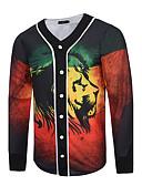 baratos Camisetas & Regatas Masculinas-Homens Feriado Moda de Rua Padrão Jaqueta, Animal Decote V Estampado Vermelho XL / XXL / XXXL / Delgado
