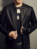 お買い得  メンズ アウター-男性用 ジャケット - エレガント・豪華 スタンド 純色 / 長袖