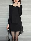 cheap Women's Dresses-Women's Plus Size Loose Dress - Solid Colored Black Asymmetrical