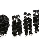 billige Aftenkjoler-Indisk hår Dyp Bølge Ekte hår Hår Veft Med Lukker Hårvever med menneskehår Hairextensions med menneskehår