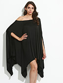cheap Women's Dresses-Women's Plus Size Holiday Batwing Sleeve Loose Dress - Solid Colored Black Asymmetrical