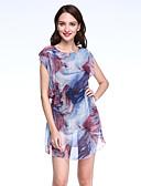 baratos Vestidos Plus Size-Mulheres Tamanhos Grandes Moda de Rua Bainha Vestido - Franzido Estampado Acima do Joelho