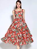 baratos Vestidos Femininos-Feminino balanço Vestido, Casual Vintage Floral Decote Redondo Médio Sem Manga Vermelho Algodão / Poliéster Outono Cintura MédiaSem
