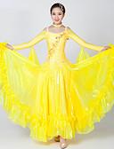 preiswerte Tanzkleidung für Balltänze-Für den Ballsaal Kleider Damen Leistung Elasthan / Tüll Applikationen / Farbaufsatz / Kristalle / Strass Langarm Kleid / Neckwear