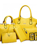 cheap Women's Belt-Women's Zipper / Flower Bag Set Bag Sets PU(Polyurethane) Geometric Red / Yellow / Fuchsia