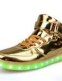 baratos Vestidos de Mulher-Mulheres Sapatos Couro Ecológico Primavera / Outono Conforto / botas de desleixo / Tênis com LED Tênis Caminhada Sem Salto Ponta Redonda