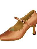 cheap Ballroom Dance Wear-Women's Latin Shoes / Jazz Shoes / Modern Shoes Satin Sandal / Heel Buckle / Ruffles Customized Heel Customizable Dance Shoes Black /