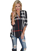 baratos Camisas Femininas-Mulheres Camiseta Xadrez Algodão Decote V Solto / Primavera / Outono