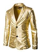tanie Męskie kurtki i płaszcze-Marynarka Męskie Moda miejska Wyrafinowany styl Jendolity kolor Bawełna / Długi rękaw