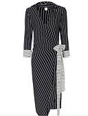 cheap Party Dresses-Women's Daily Bodycon Dress - Striped V Neck Spring Cotton Black L XL XXL