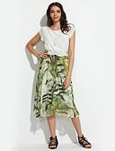 お買い得  レディースドレス-女性用 プラスサイズ シフォン ドレス - プリーツ プリント 膝丈