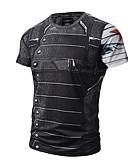 cheap Men's Shirts-Men's Daily Active / Punk & Gothic Cotton T-shirt Print Round Neck Black XL / Short Sleeve / Summer