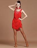 preiswerte Kleidung für Lateinamerikanischen Tanz-Latein-Tanz Kleider Damen Leistung Elasthan / Milchfieber Quaste / Kristalle / Strass Ärmellos Hoch Kleid