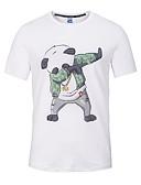 cheap Men's Shirts-Men's Sports / Beach Street chic / Punk & Gothic Cotton Slim T-shirt - Animal Print Round Neck / Short Sleeve
