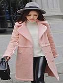 hesapli Kadın Elbiseleri-Kadın Suni Kürk Uzun Kollu Derin V,Mavi / Pembe / Beyaz Sonbahar / Kış Solid Sade Günlük/Sade-Kadın Kürk Mont