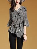 رخيصةأون قمصان نسائية-نسائي قميص قياس كبير V رقبة - أناقة الشارع طباعة / الربيع / الخريف