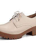 זול מכנסיים לנשים-בגדי ריקוד נשים נעליים עור אביב / קיץ / סתיו נוחות נעלי אוקספורד עקב עבה שחור / בז' / חום בהיר / מסיבה וערב